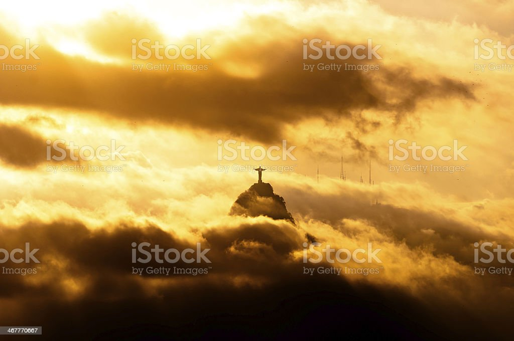Christ the Redeemer Statue in Clouds stock photo