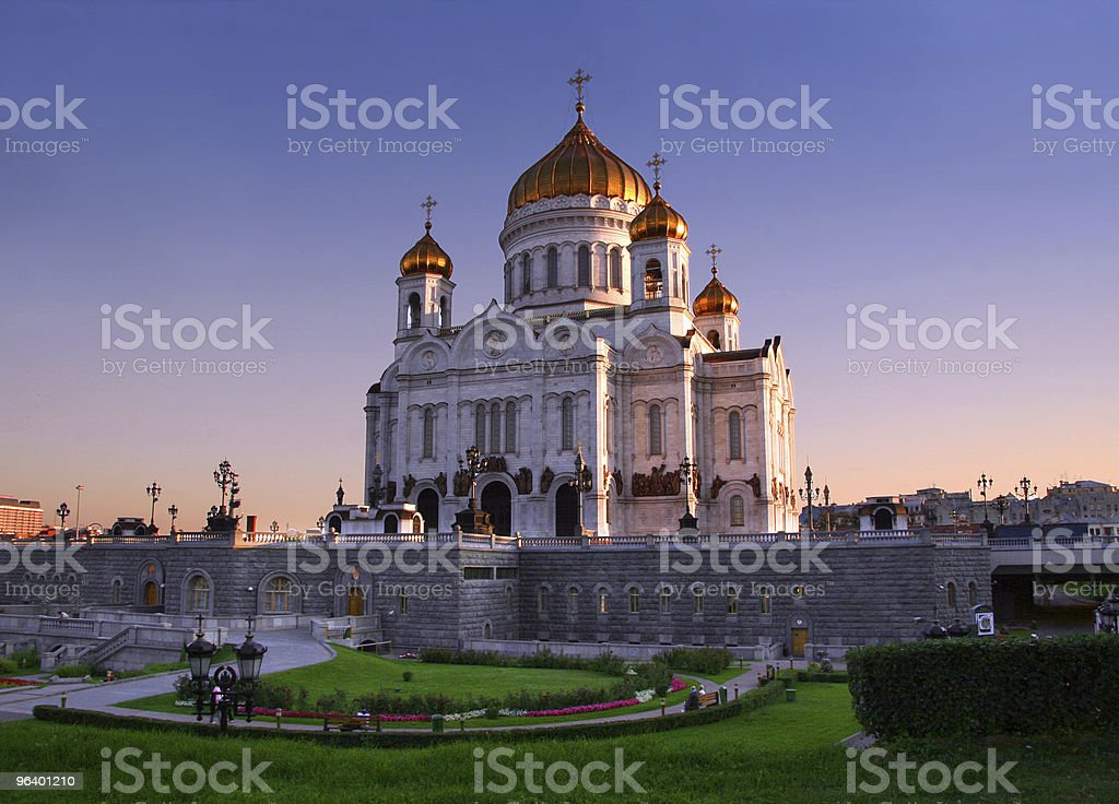 Christ the Savior Cathedral at dusk royalty-free stock photo