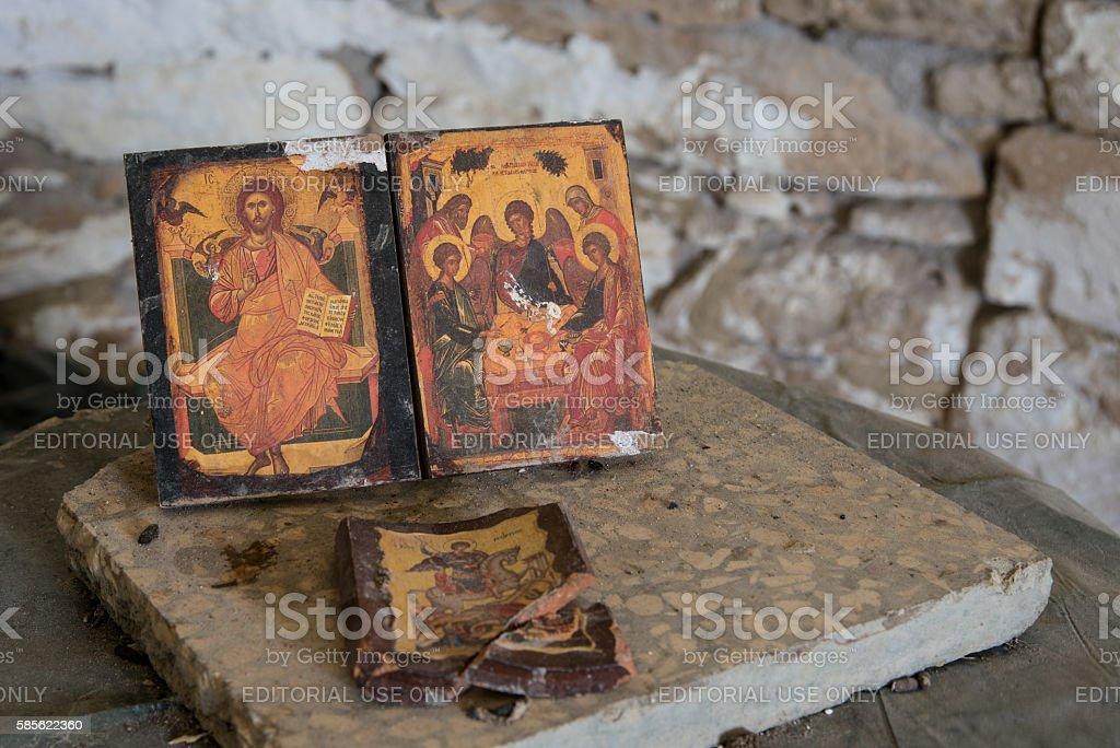 Christan saint paintings on wood stock photo