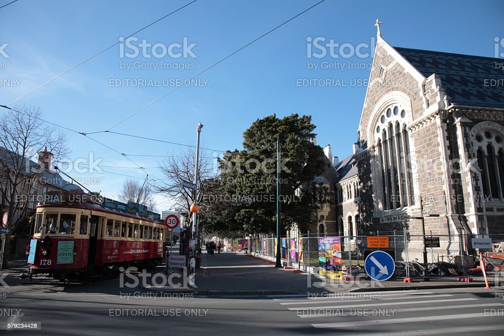 Christchurch Arts Centre and tram in Winter stock photo
