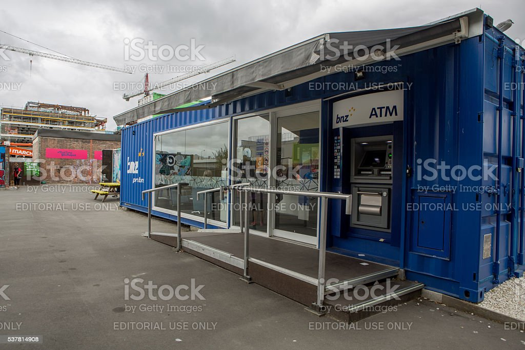 Christchurch: BNZ bank in the new shipping container shopping area stock photo