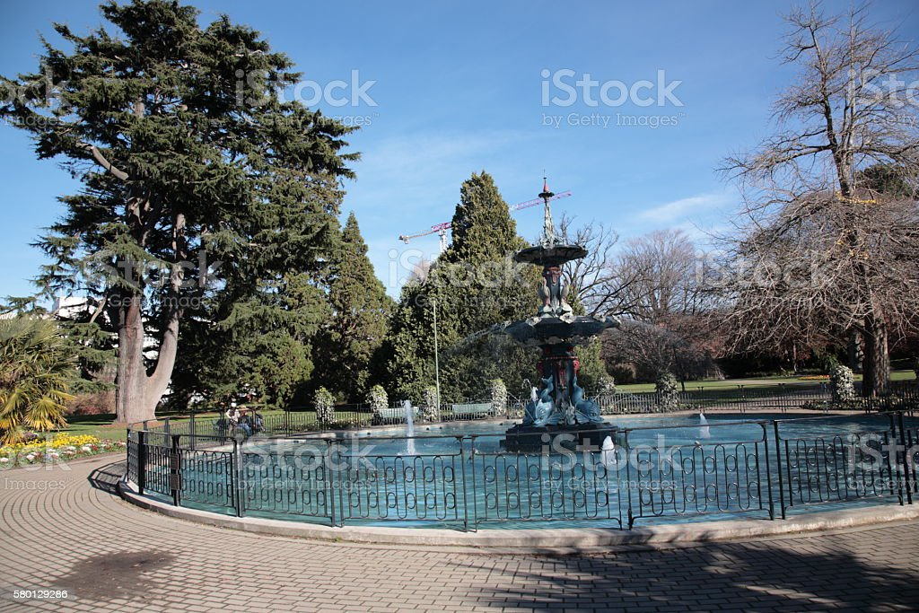 Christchurch botanic gardens and Peacock Fountain in Winter stock photo
