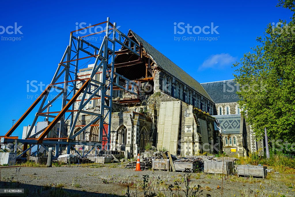 Christchurch Cathedral after earthquake stock photo