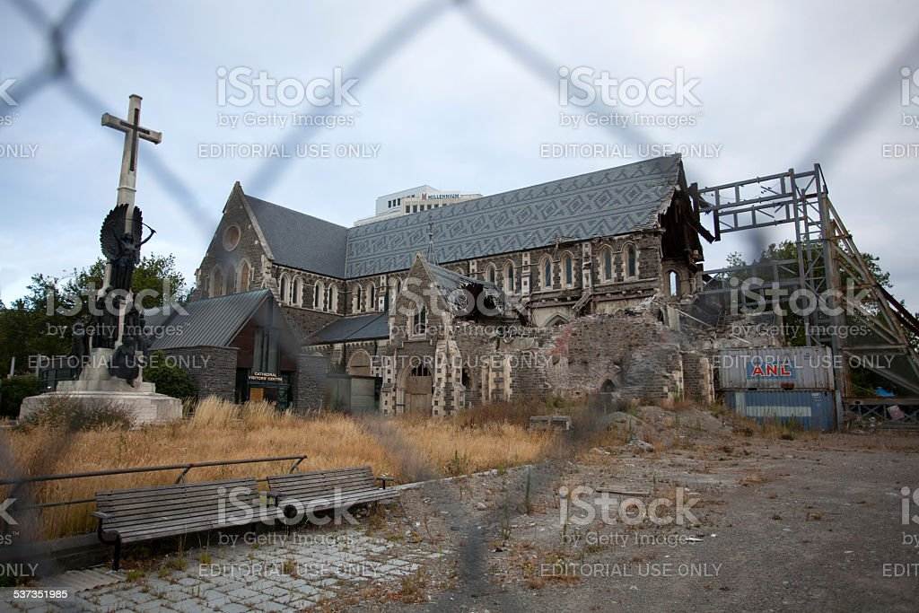 Christchurch Cathedral Damage stock photo