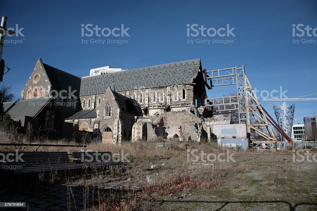 Christchurch cathedral square in Winter stock photo