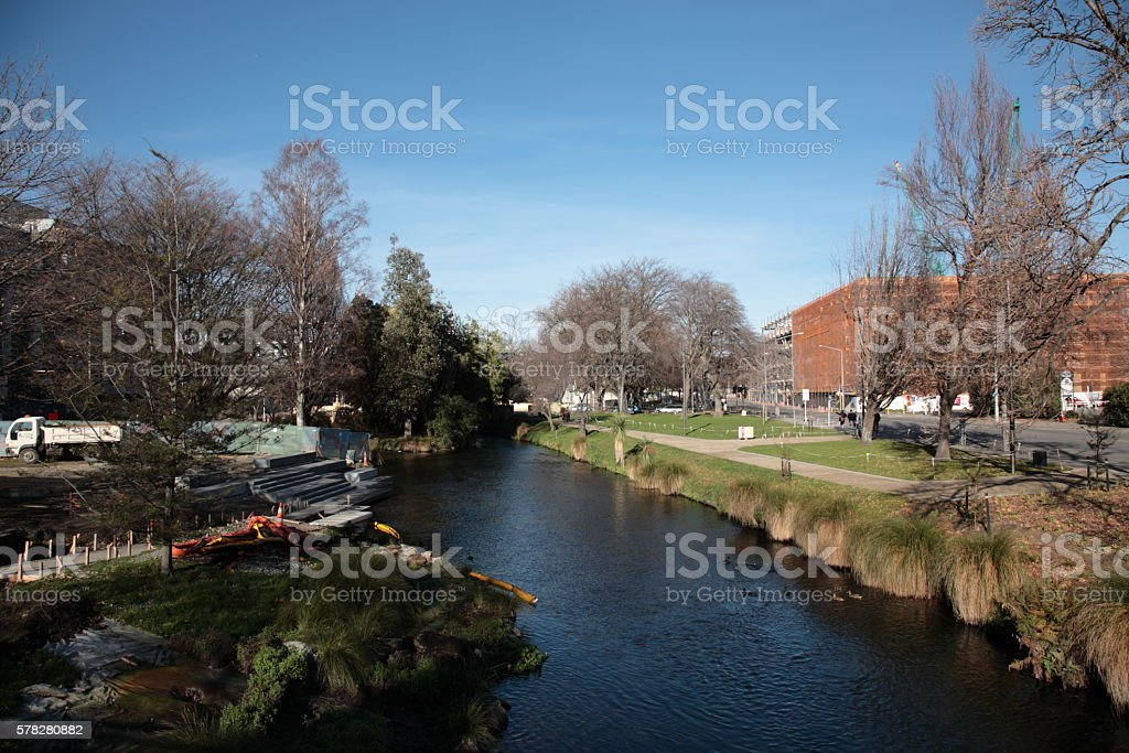 Christchurch city Avon river in Winter stock photo