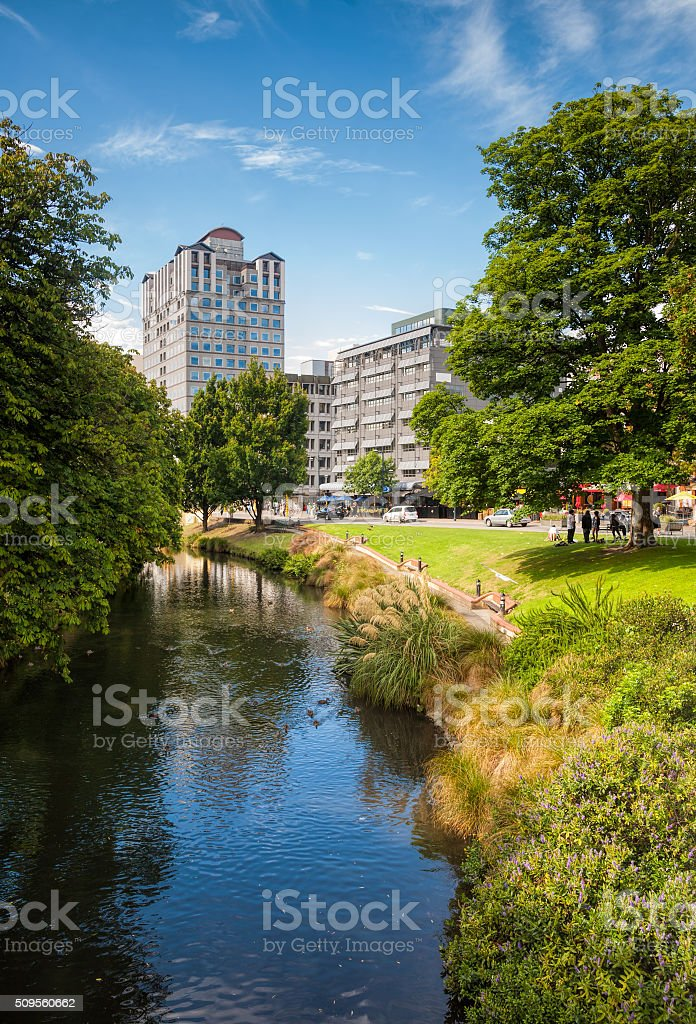 Christchurch cityscape with Avon river and Clarendon Tower stock photo