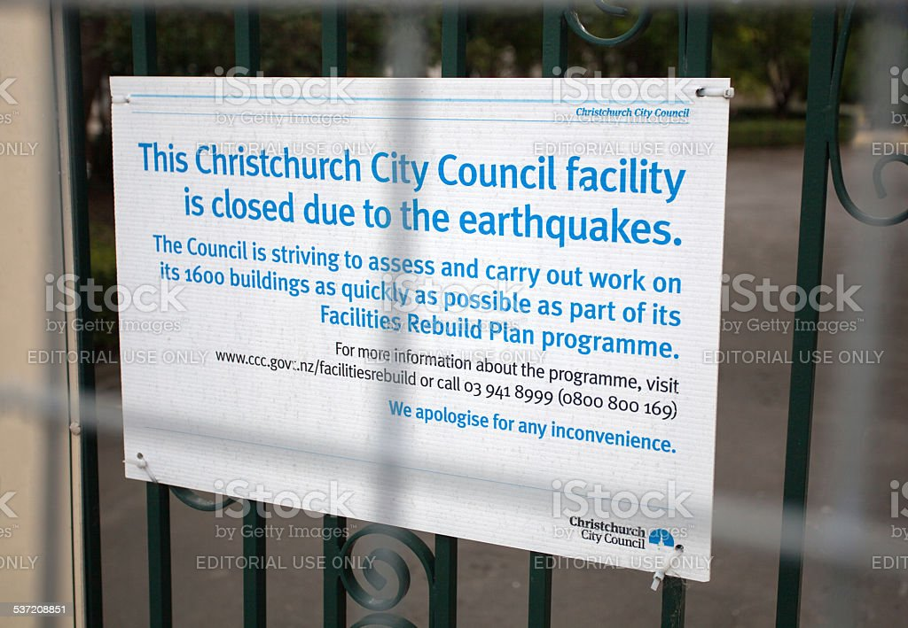 Christchurch Earthquake Damage Sign stock photo