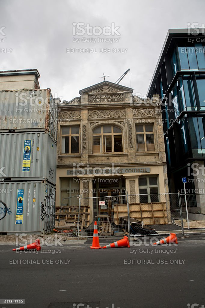 Christchurch, New Zealand: Cargo containers and streets stock photo