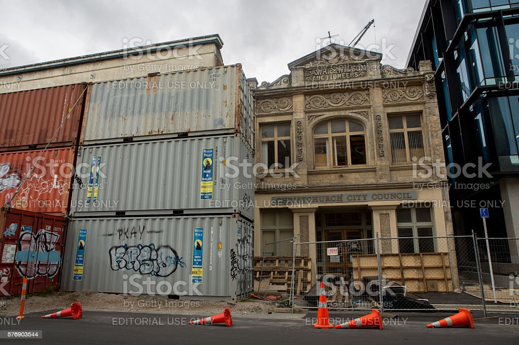 Christchurch, New Zealand: Cargo containers stock photo