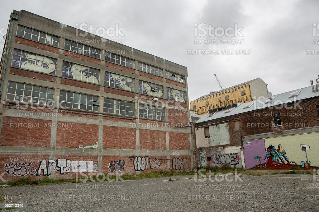 Christchurch, New Zealand: Christchurch city streets in poor conditions stock photo