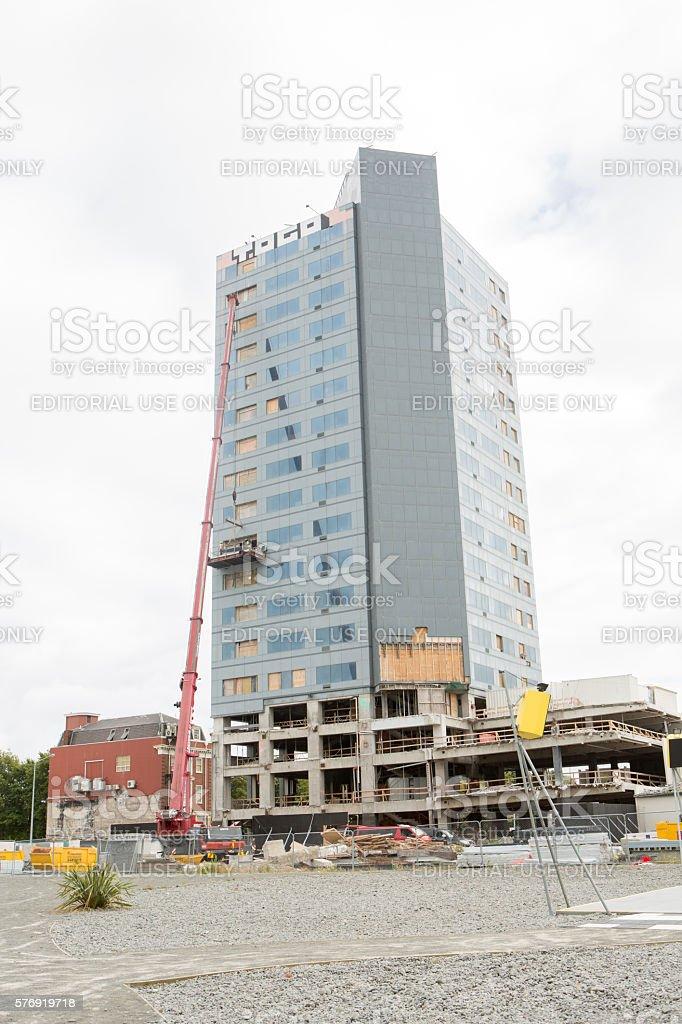 Christchurch, New Zealand: Hotel reconstruction stock photo