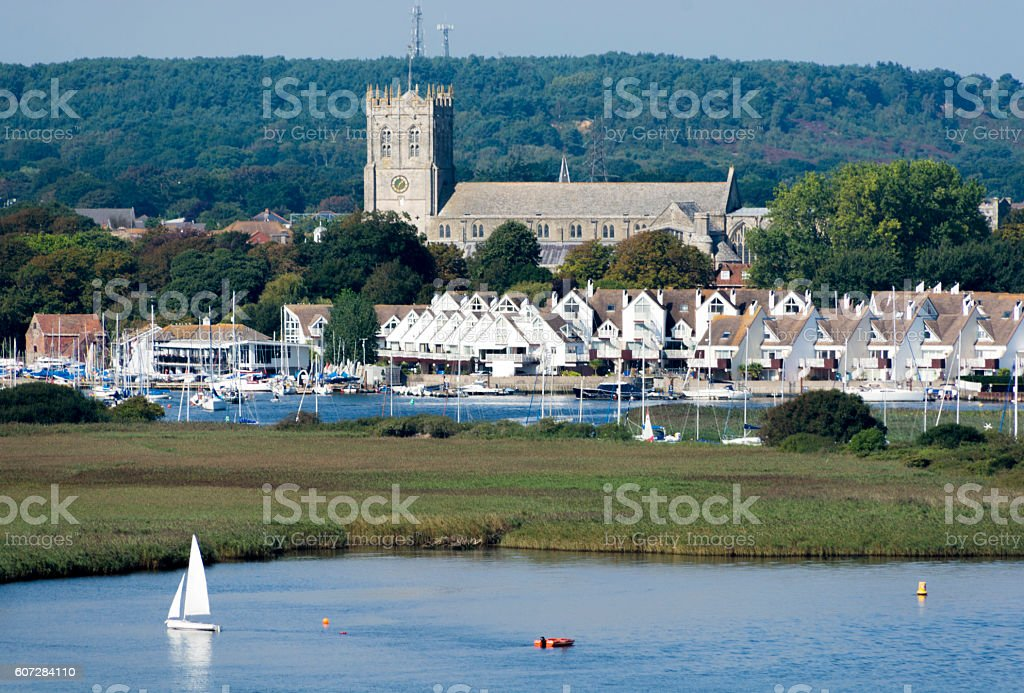 Christchurch Priory and Harbour stock photo
