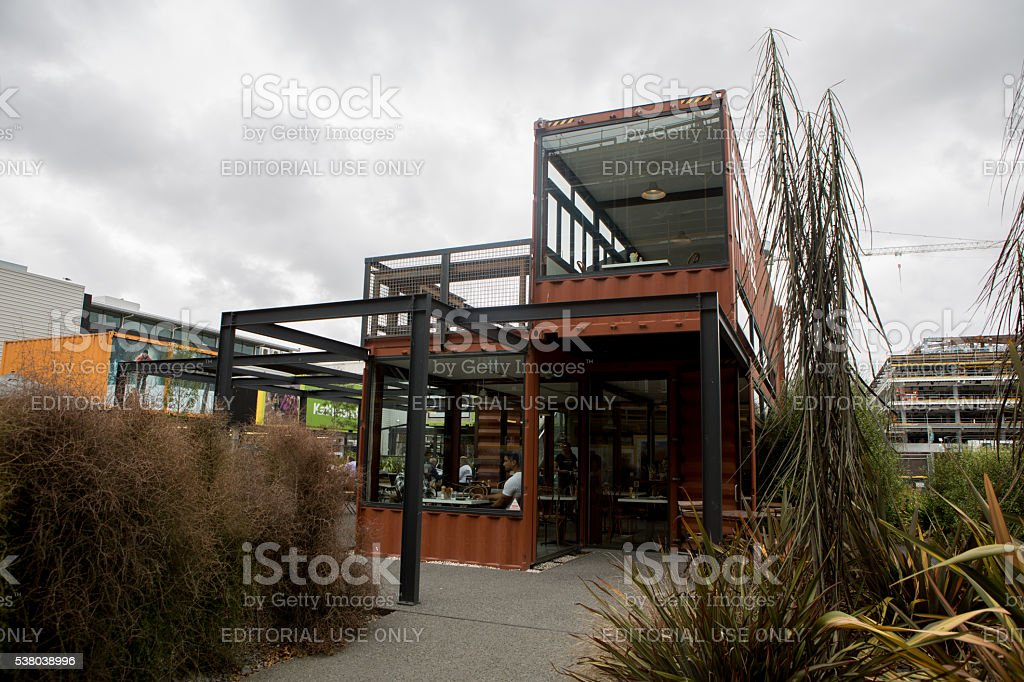 Christchurch: Shops in the new shipping container shopping area stock photo