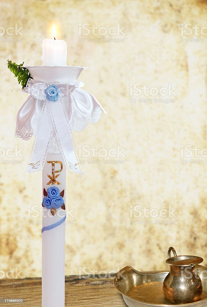 christening candle royalty-free stock photo
