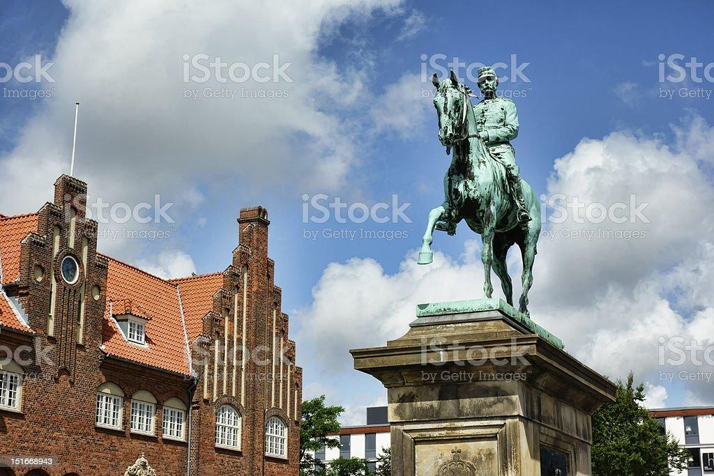 Christian 10 statue, Esbjerg stock photo