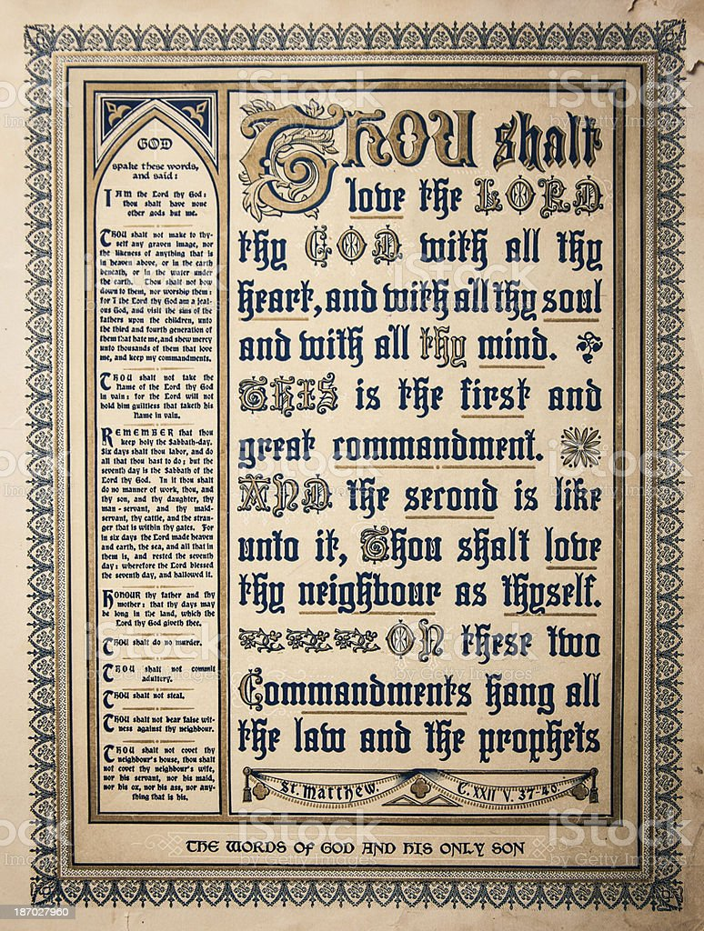 Christian Antique Script 1800's Holy Bible Page royalty-free stock photo
