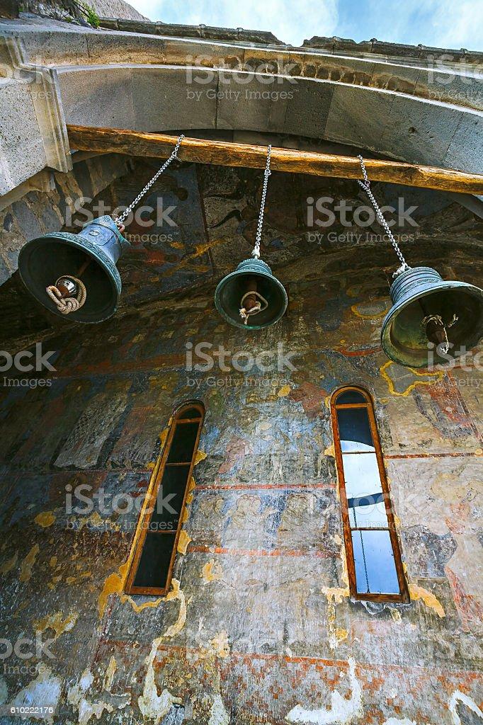 Christian bell, fresco wall. stock photo