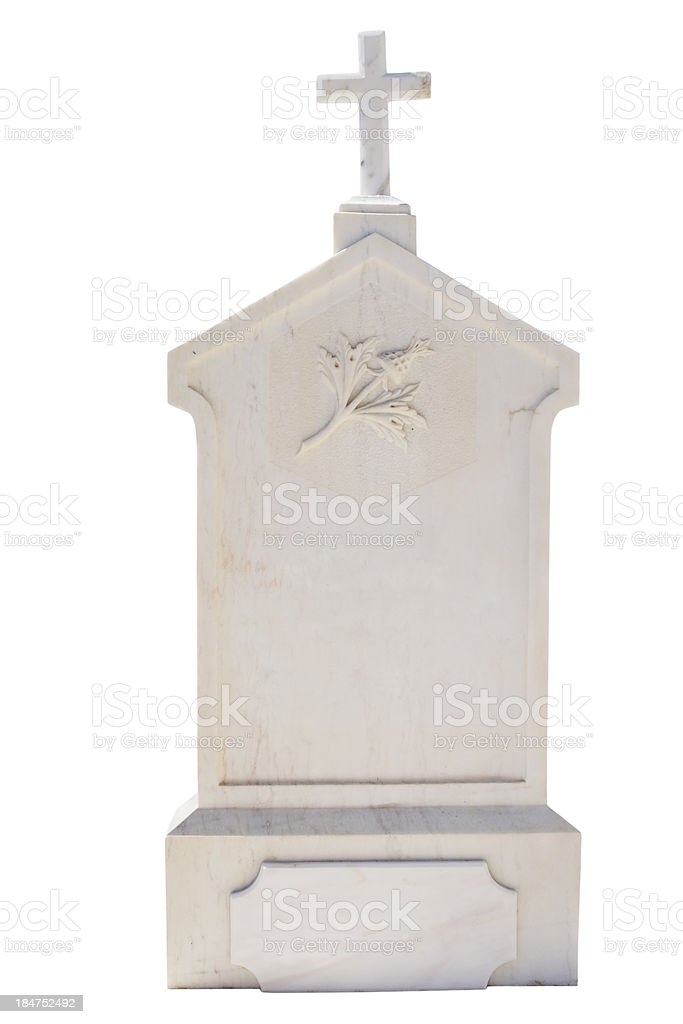 Christian blank gravestone isolated on white background royalty-free stock photo