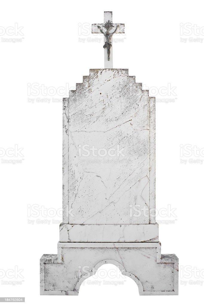 Christian blank gravestone isolated on white background royalty-free stock photo