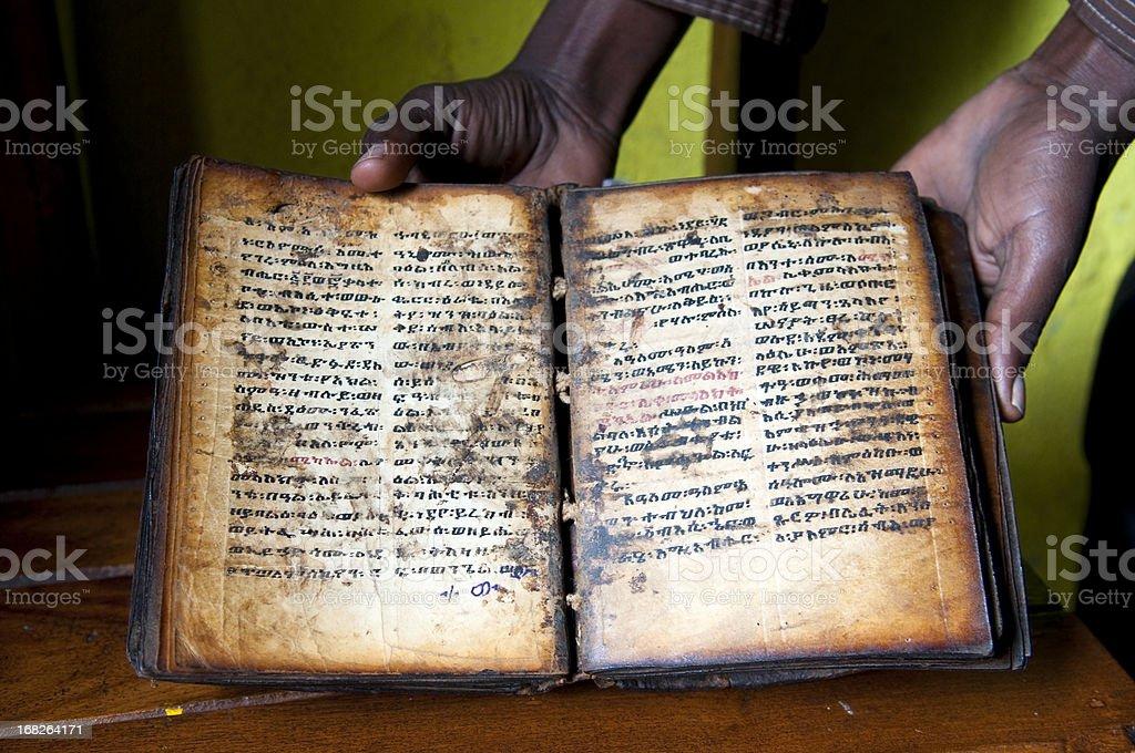Christian book in Lake Tana, Ethiopia stock photo