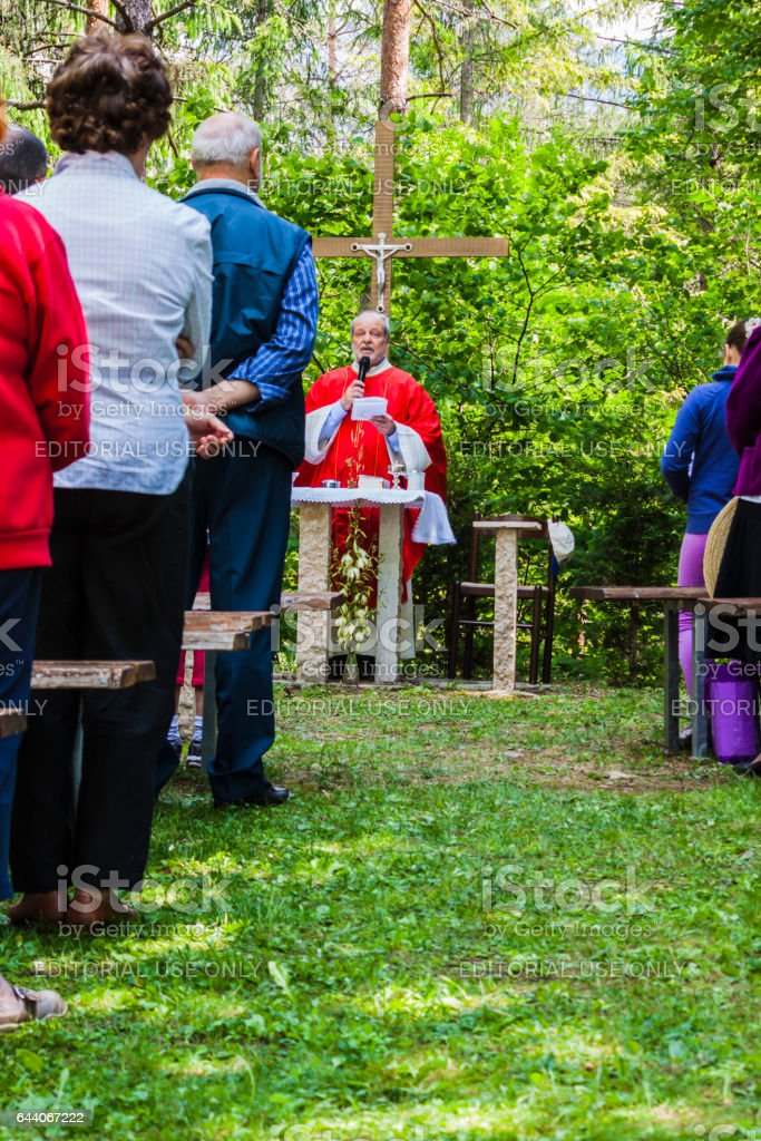 Christian celebration at open air stock photo