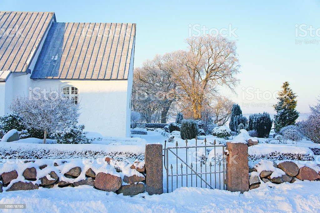 Christian cemetery in Denmark in winter stock photo