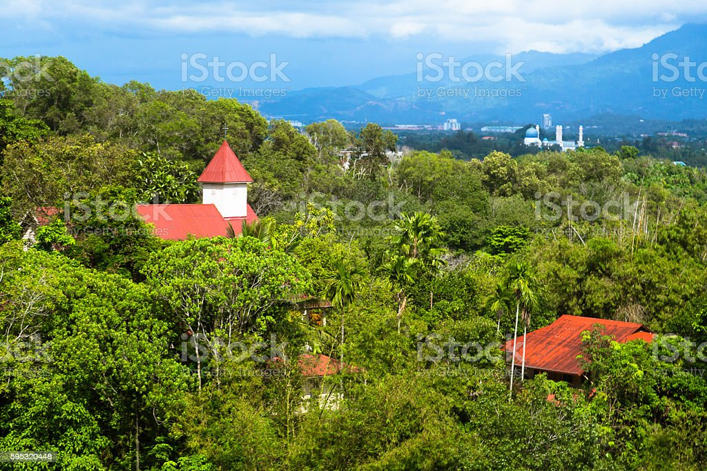 Christian Church and Mosque in Borneo stock photo