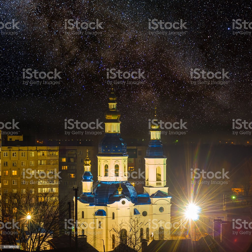 christian church at the night stock photo