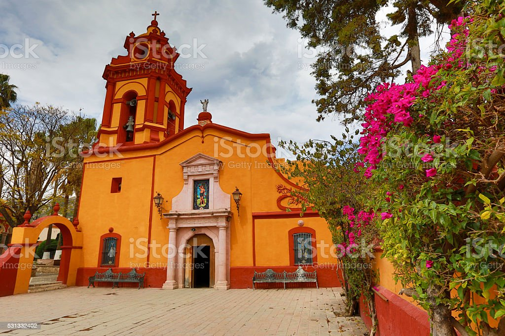 christian church in Bernal, Mexico stock photo