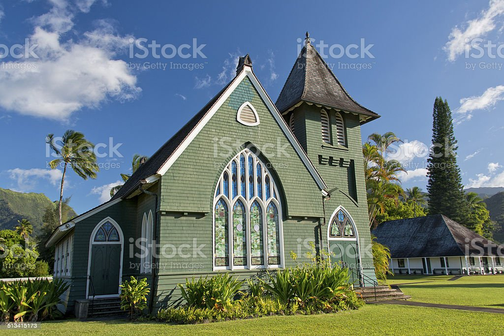 christian church in Hawaii on sunny day stock photo