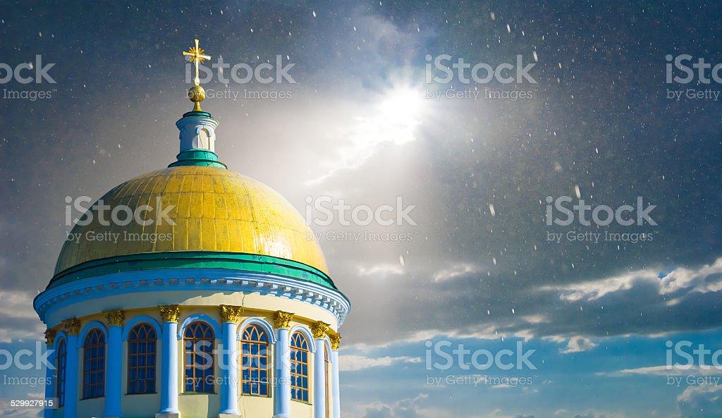 christian church on a dramatic sky background stock photo