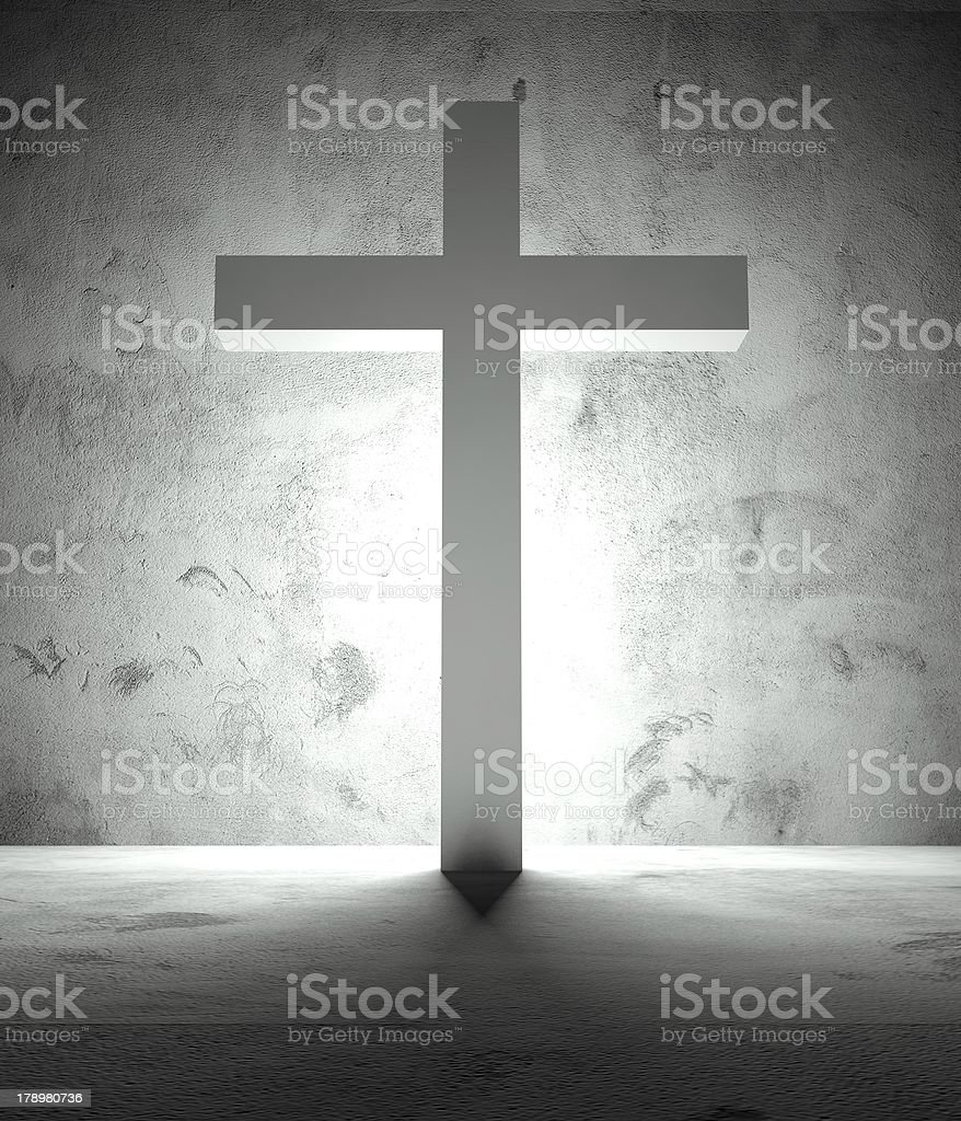 Christian cross and shadow, dramatic scene royalty-free stock photo