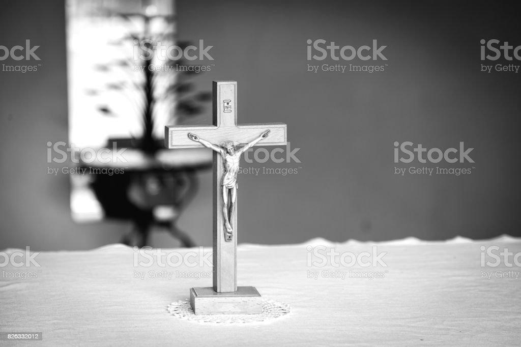Christian cross. Black and white photo stock photo