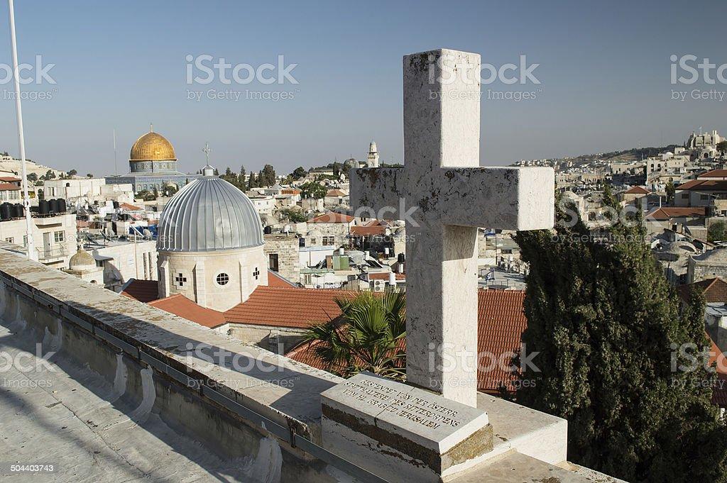 christian cross in Jerusalem stock photo