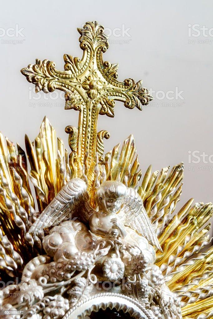 Christian Cross in monstrance stock photo