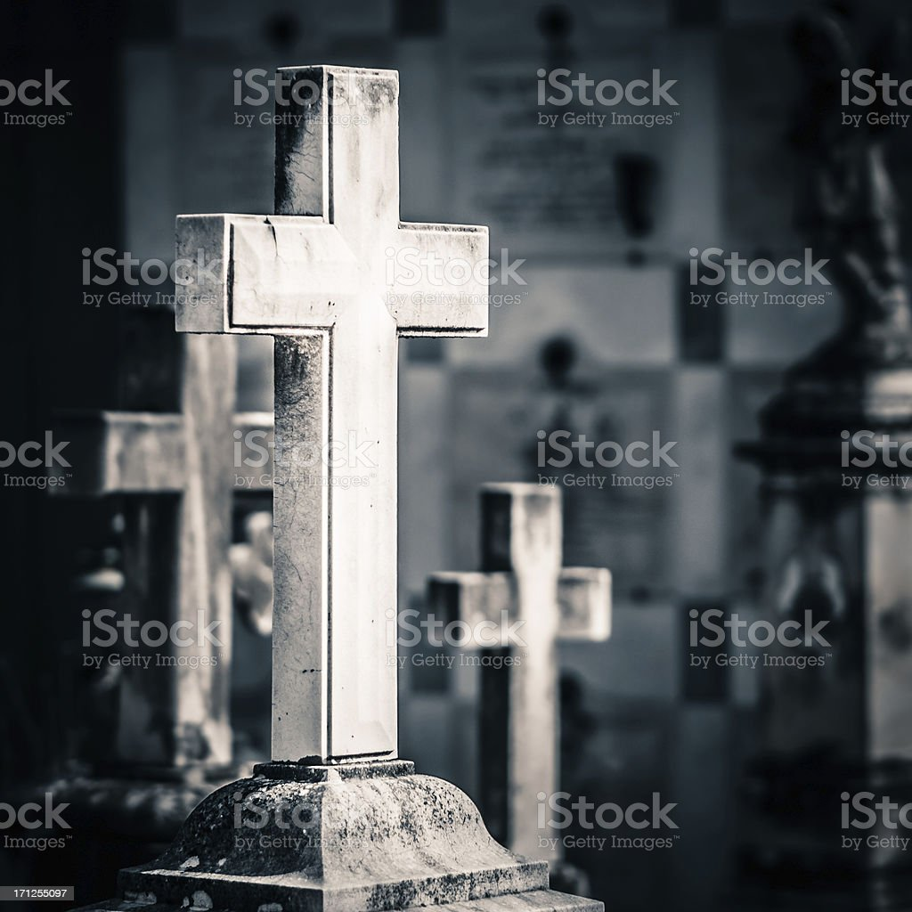 Christian Cross in Old Cemetery. stock photo