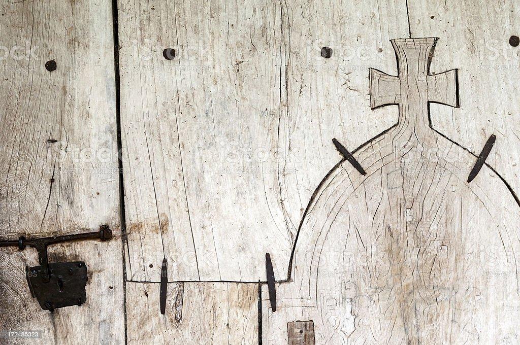 Christian cross in woodwork at Kibran Gabriel Monastery in Ethiopia stock photo