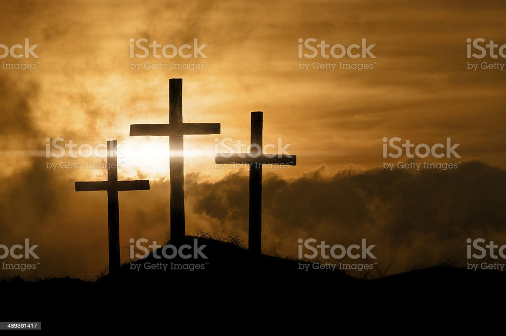 Christian Crosses At Sunrise stock photo