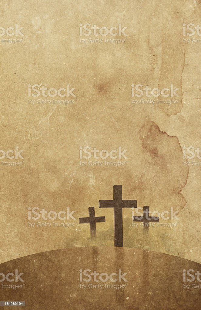 Christian Crosses On Aged Paper stock photo