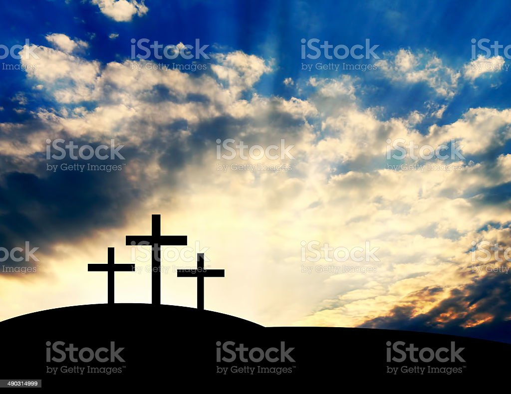 Christian Crosses on the Hill stock photo