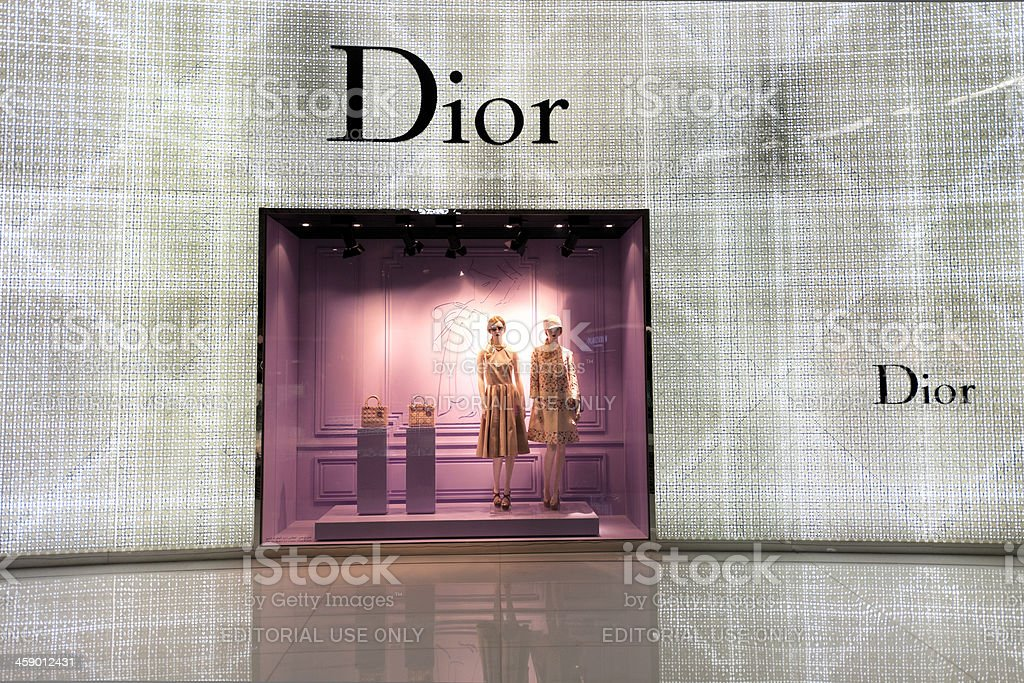 Christian Dior window display at Dubai Mall stock photo