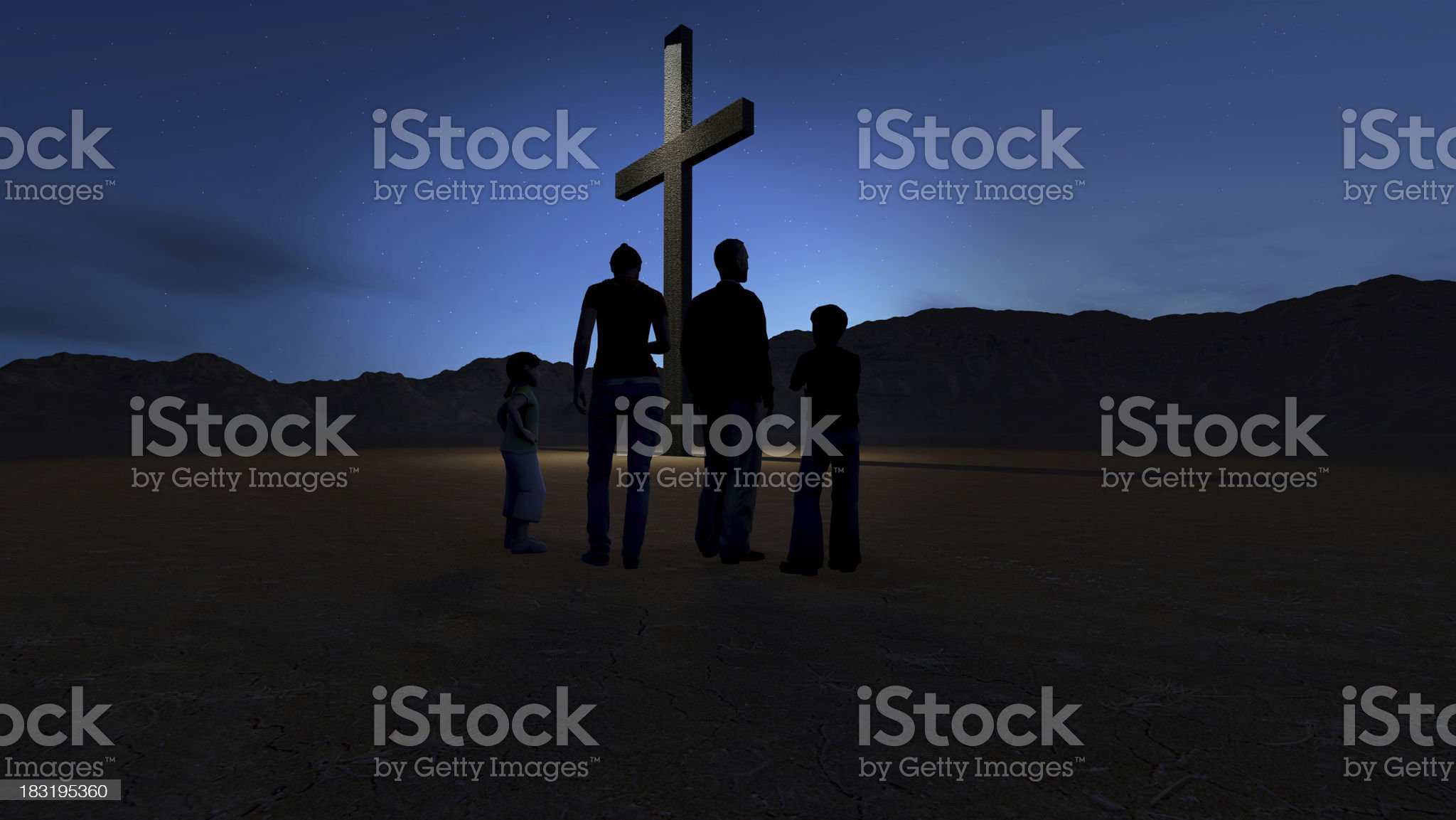 Christian family at the Cross royalty-free stock photo