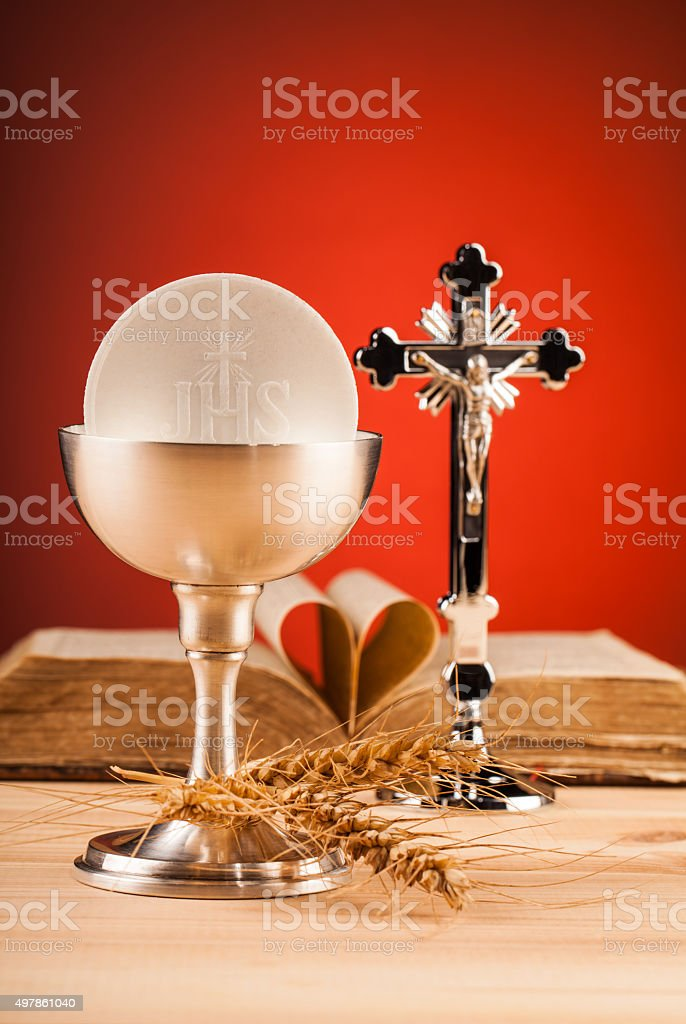 Christian holy communion stock photo