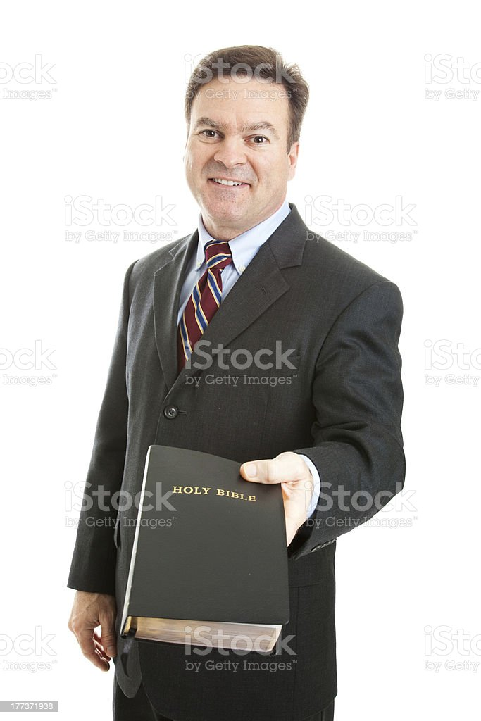Christian Man with Bible stock photo