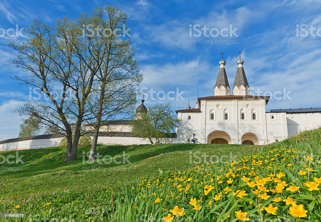 Christian monastery on hill and blooming meadows. stock photo