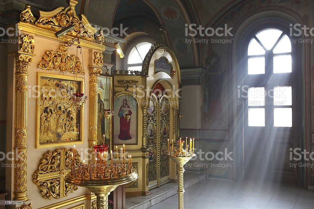 Christian orthodox cathedral interior royalty-free stock photo