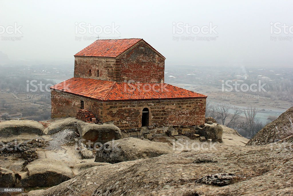 Christian Orthodox Church in ancient cave city of Uplistsihe stock photo
