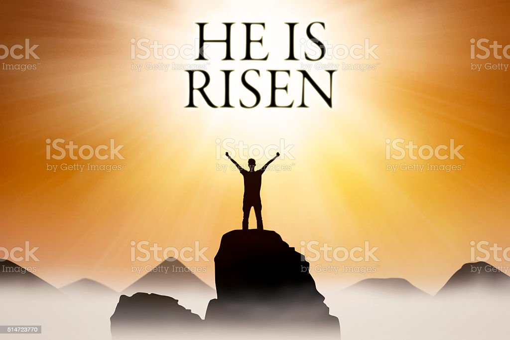 Christian person and text He is risen stock photo