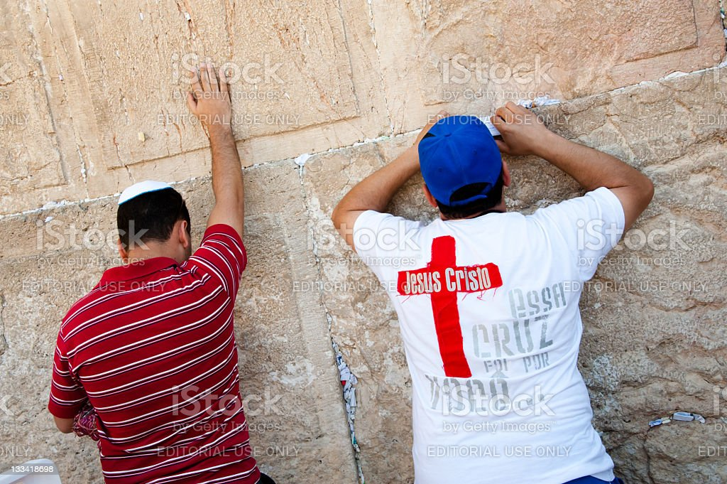 Christian Praying at Western Wall stock photo
